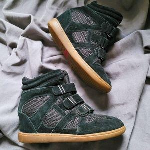 Skechers   Black Tan Suede Leather Sneaker Wedge 9